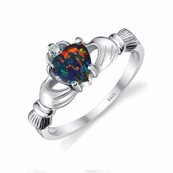 Black Fire Opal Ring   925 Sterling Silver   matans store.myshopify.com