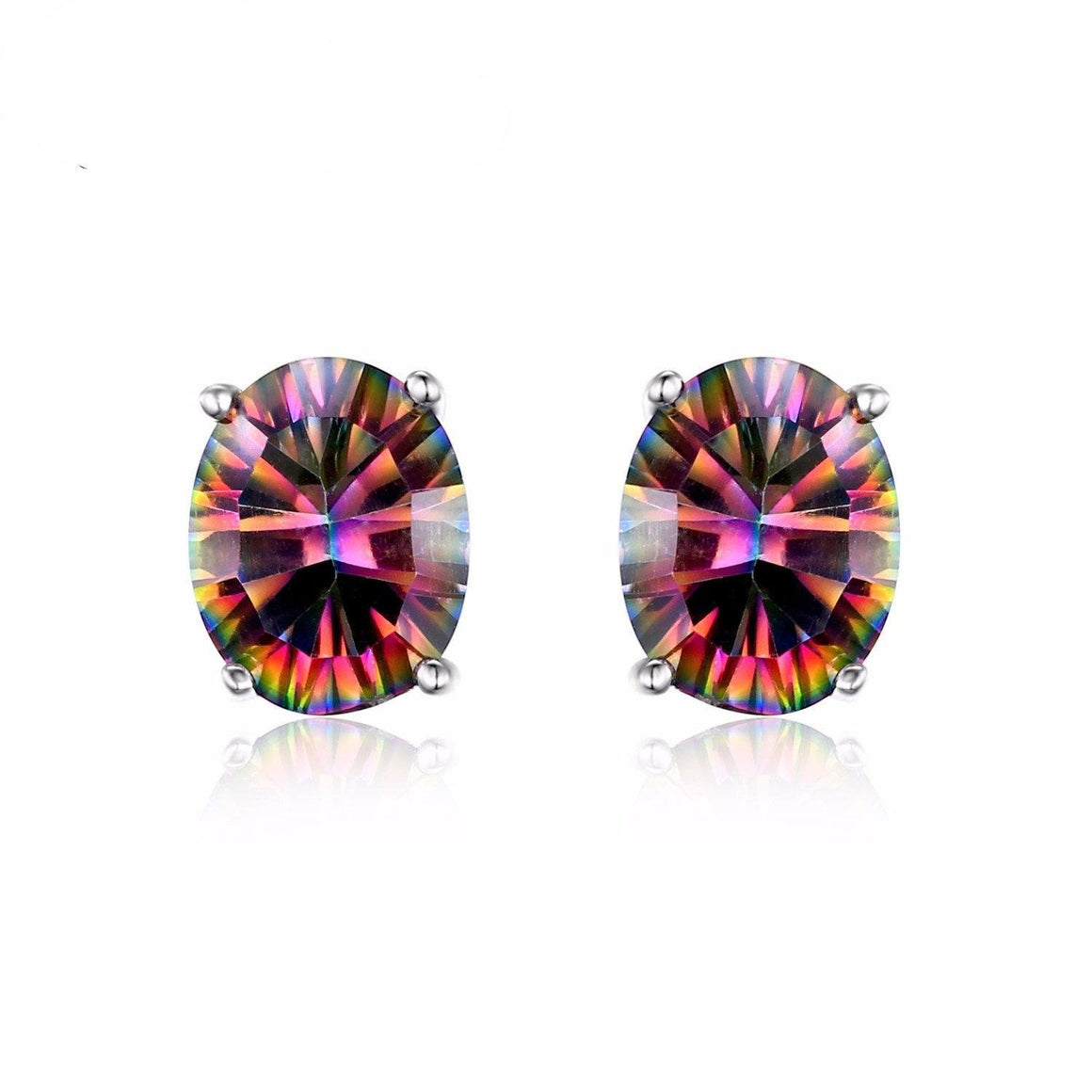 1.5ct Fire Rainbow Mystic Topaz Earrings - AtPerry's Healing Crystals™