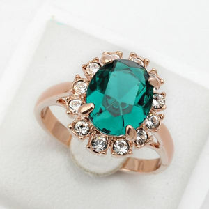 Emerald Ring Rose Gold Plated - atperry's healing crystals