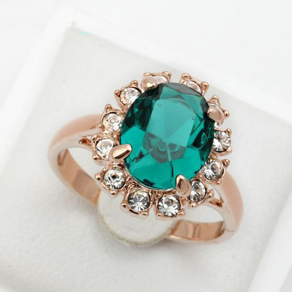 Emerald Ring Rose Gold Plated   matans store.myshopify.com