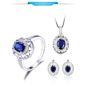 Blue Sapphire 925 Silver Set - Ring, Pendant & Earrings - atperry's healing crystals