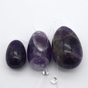 Natural Amethyst Yoni Eggs Set with Massage WandYoni Eggs