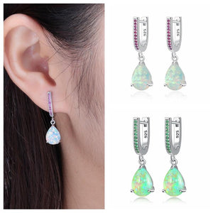 Green Fire Opal & White Fire Opal Dangling EarringsEarrings