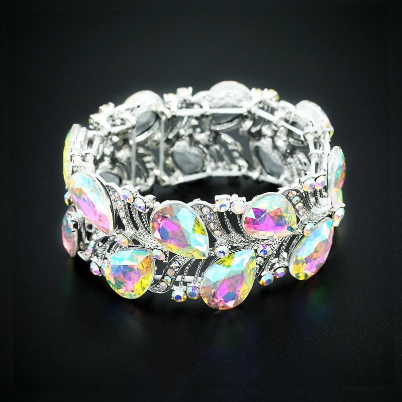 Luxury Silver Crystal Cuff Bangle - atperry's healing crystals