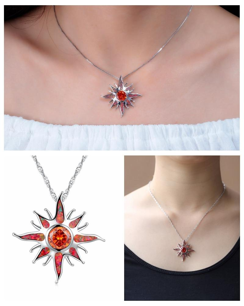 Starburst Orange Fire Opal Garnet Pendant (Without Chain)Pendant