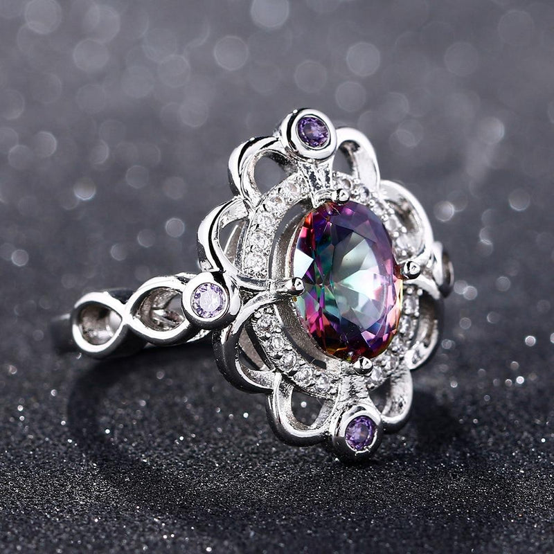Lovely Rainbow Mystic Topaz Amethyst Ring - 925 Sterling SilverRing