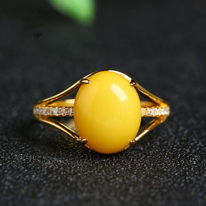 925 Sterling Silver Natural Yellow Amber Ring