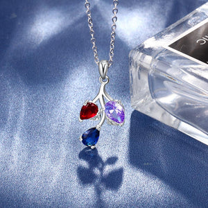 Leaf Necklace Custom DIY 3 Birthstones - atperry's healing crystals