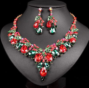 Red - Green Crystal Chain Necklace Jewelry Set - atperry's healing crystals