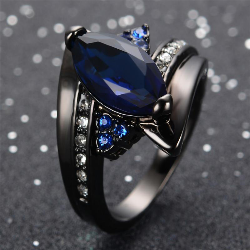 Blue Sapphire Black Gold Ring - atperry's healing crystals