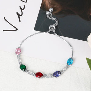 Customize 5 Oval Birthstones Bracelet - atperry's healing crystals
