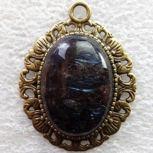Natural Oval Larvikite Bronze Pendant - atperry's healing crystals