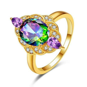 Luxury Multicolor Zircon Gold RingRing9Multicolor-NJ469