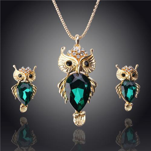 18k Gold Filled Austrian Crystal Owl Chain Necklace   Earrings Jewelry Set   matans store.myshopify.com