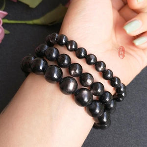 Natural Black Hypersthene Stone Braceletraw14mm