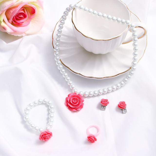 Cute Flower Shape Pearl Jewelry Set - For KidsJewelry SetRose red