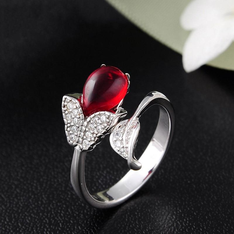 925 Sterling Silver Luxury Ruby Ring