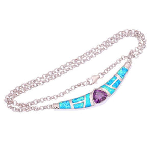 "Blue Fire Opal Purple Zircon Silver Color Necklace Pendant 16 1/2""Necklaces"