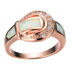Fire Opal Rose Gold Ring - atperry's healing crystals