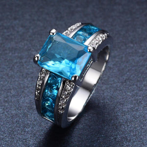 Sapphire Aquamarine Ring - Ring Size's: 8, 9, 10 - atperry's healing crystals