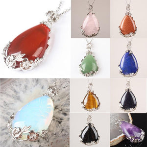 Teardrop Inlaid Flower Pendant Natural Healing Crystal (PENDANT ONLY)Necklace
