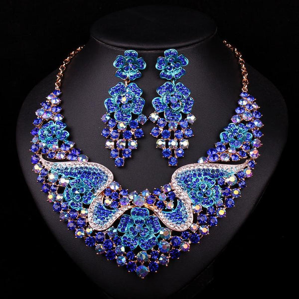 Sapphire Jewelry Set Necklace And Earrings Atperrys