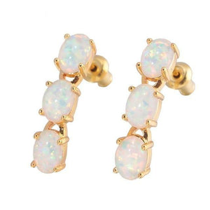 Beautiful Luxury White Fire Opal Gold & Rose Gold EarringsEarringsRose Gold