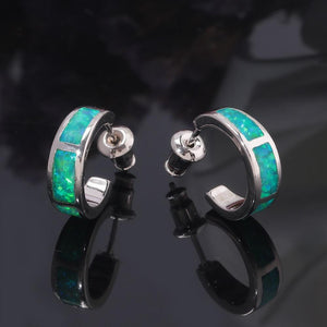 Green Pink Blue White Fire Opal Stud EarringsEarrings