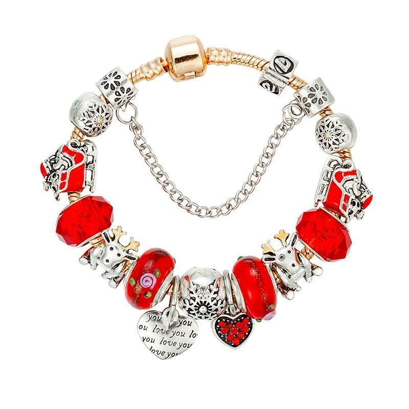 Christmas Red Crystal Beads Charms Bracelet - AtPerry's Healing Crystals™