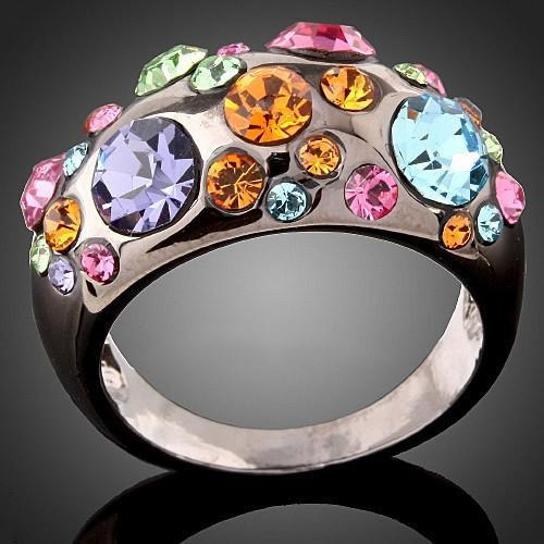 Multi Color Mysterious Rainbow Topaz Ring - AtPerrys Healing Crystals - 2