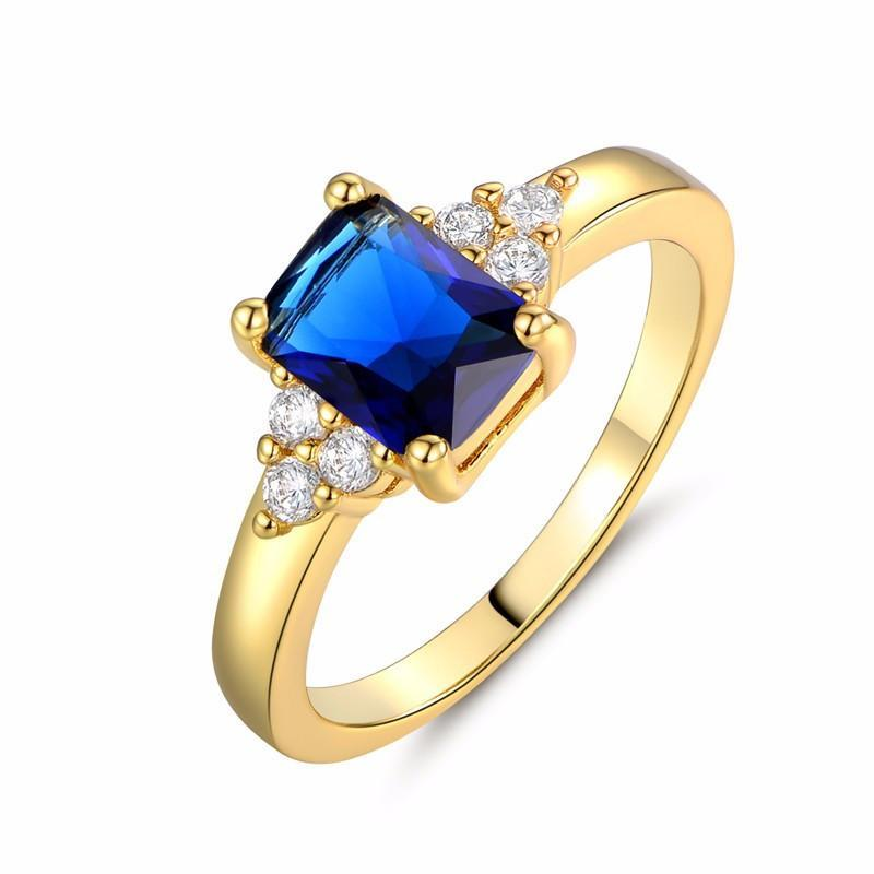Sapphire Gold Plated Ring   matans store.myshopify.com