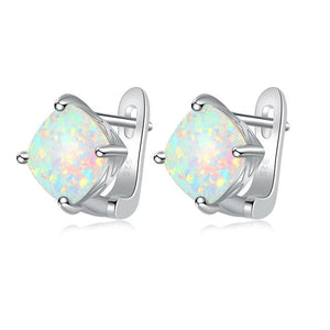 Minimalist White Fire Opal Stud EarringsEarrings