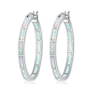 White Fire Opal Hoop EarringsHoop Earrings