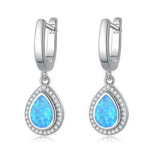 White & Blue Fire Opal Tear Drop Earrings with stone silver filledEarringsBlue