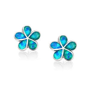 White & Blue Fire Opal Stud Earrings Flower Flora Gardenia Bohemia BohoEarringsBlue
