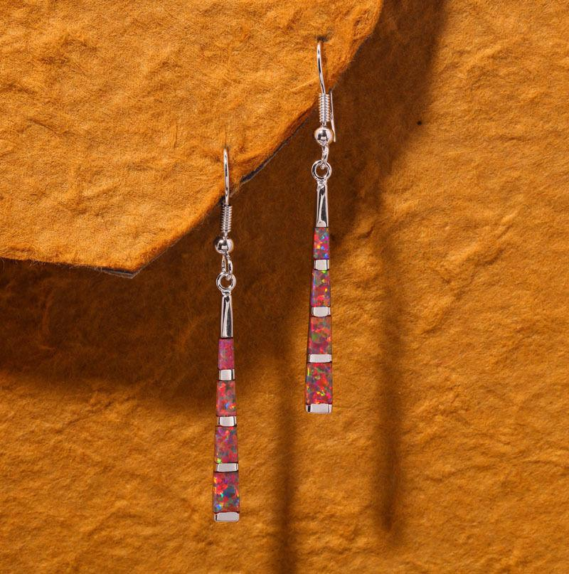 Orange Fire Opal Long Dangle Drop EarringsEarrings