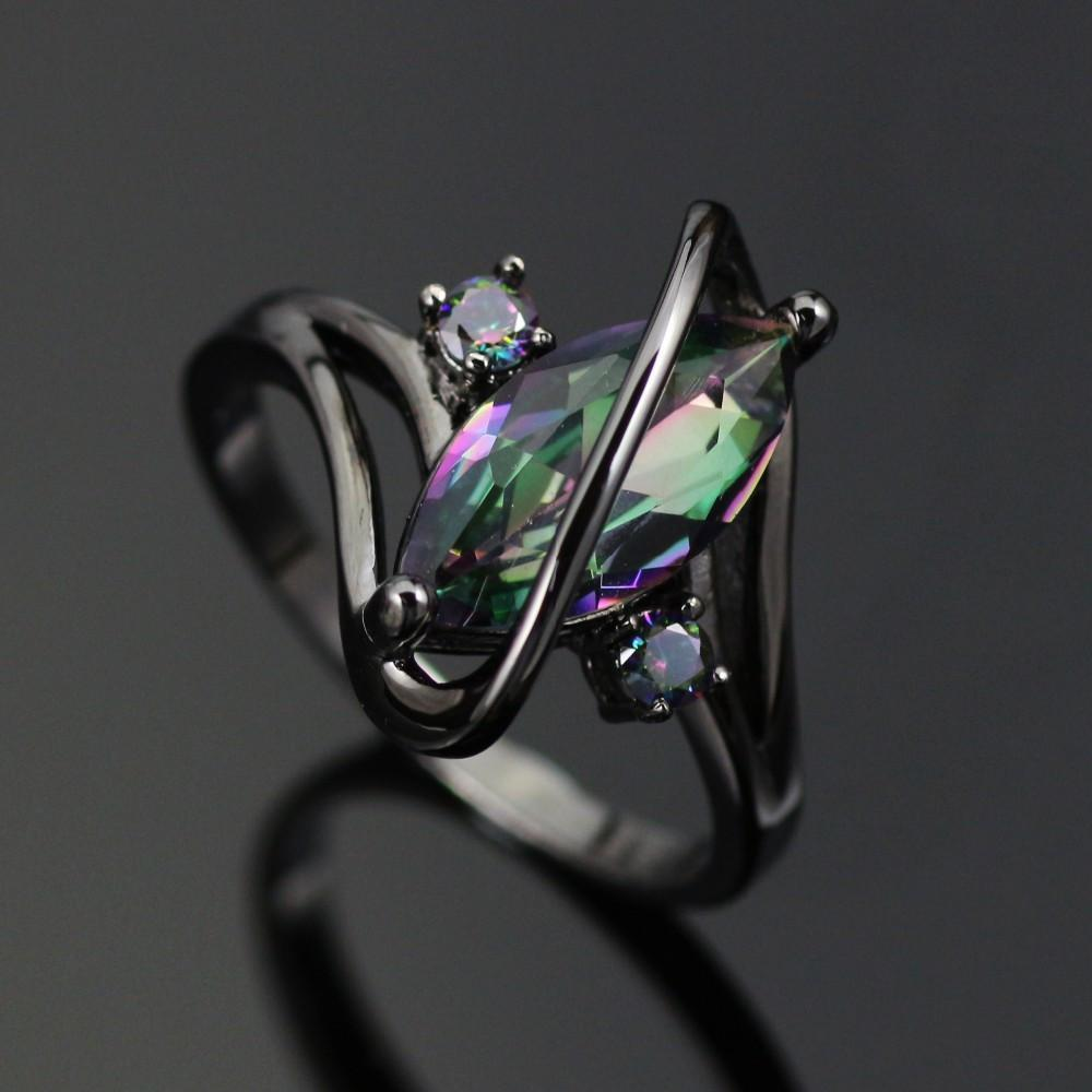 Rainbow Topaz Black Gold Plated Ring
