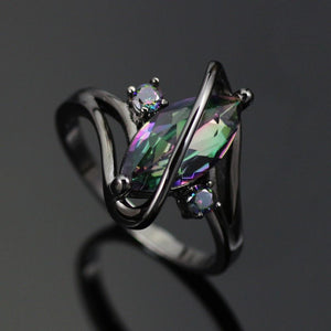 Rainbow Topaz Black Gold Plated Ring - AtPerry's Healing Crystals™