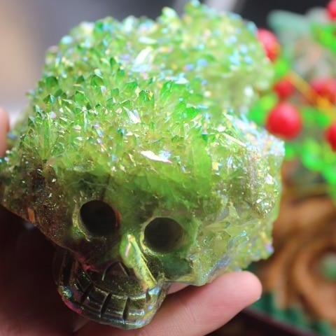 Natural Green Crystal Quartz Skull - atperry's healing crystals