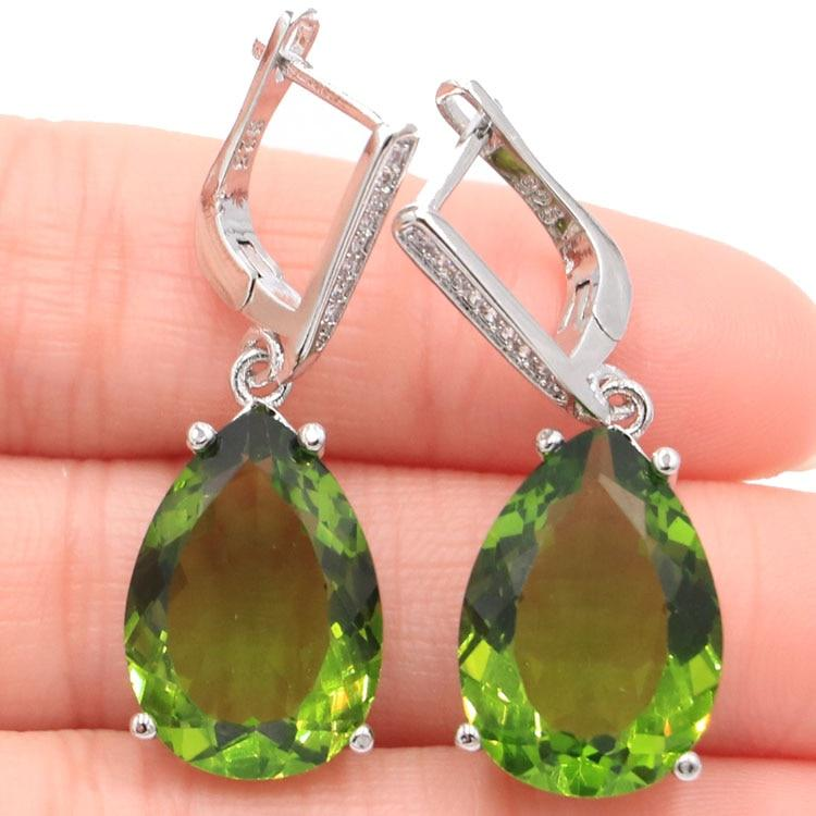 Water Drop Shape Green Peridot Silver EarringsEarrings