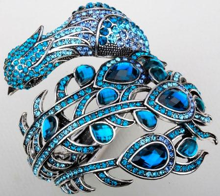 Peacock Crystal Rhinestone Bangle Cuff Jewelry