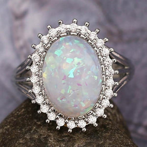 Charming Opal Oval Ring - 925 Sterling SilverRing9