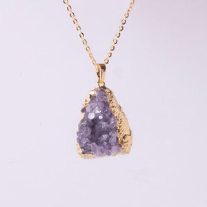 Natural Amethysts Quartz Geode NecklaceNecklaceGold Random Shape