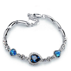 Sapphire Crystal Heart Charm Bracelet - AtPerry's Healing Crystals™