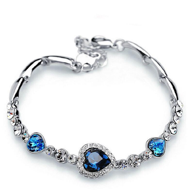 Sapphire Crystal Heart Charm Bracelet - atperry's healing crystals