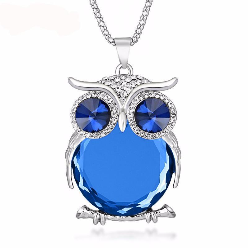 Rhinestone Crystal Owl Pendant Necklace - atperry's healing crystals