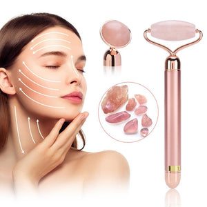 2 Heads Electric Facial Lifting Rose Quartz Roller With BoxFace Roller