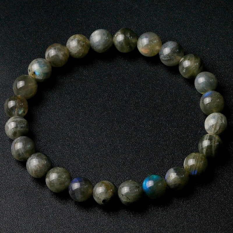 Natural Indian Labradorite Stone Round Beaded BraceletBracelet