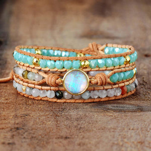 Natural Opal Rhinestone 3 Rows Leather Wrap BraceletBracelet