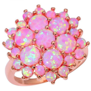 Flower Pink Fire Opal Rose Gold Elegant RingRing